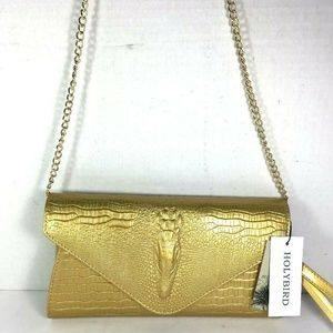 HOLYBIRD Gold Reptile Print Leather Crossbody Bag
